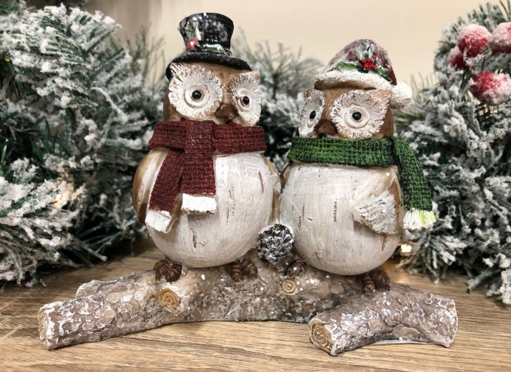 Two Owls in Hat & Scarf Perched on Winter Log ~ Festive Christmas Ornament